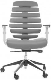 židle FISH BONES šedý plast, šedá kůže