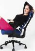kancelářská židle FISH BONES šedý plast,bílá koženka
