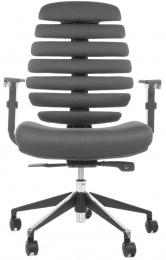židle FISH BONES černý plast, šedá látka TW12