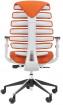 židle FISH BONES šedý plast,oranžová látka SH05