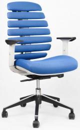 židle FISH BONES šedý plast,modrá látka MESH TW10 kancelárská stolička