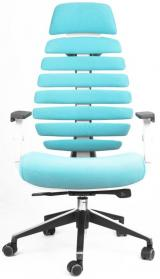 židle FISH BONES PDH šedý plast, tyrkysová 26-30 kancelárská stolička