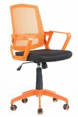 židle SUN, oranžové područky, oranžový opěrák, černý sedák kancelárská stolička
