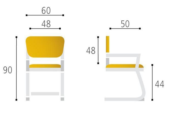 jednací židle MERENS WHITE Meeting kancelárská stolička