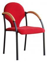 židle NEON černý plast, dřevěné područky